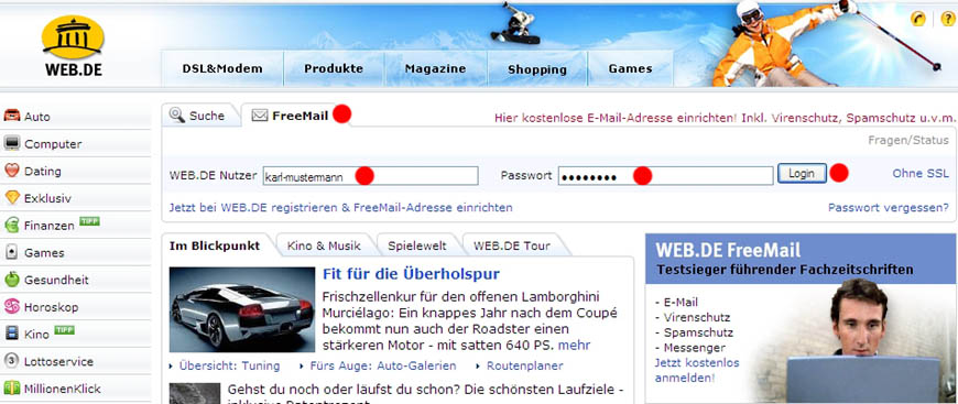 web.de login email